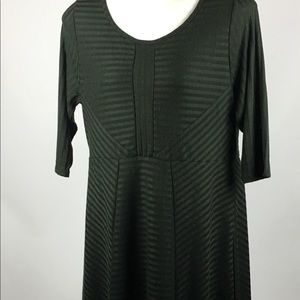 ~ Cloud Chaser Fit Flare olive green stripe dress